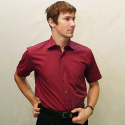Červená pánska košeľa s krátkym rukávom rovná Friends and Rebels 40303