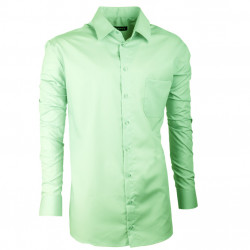 Predĺžená pánska košeľa zelená slim fit Assante 20502