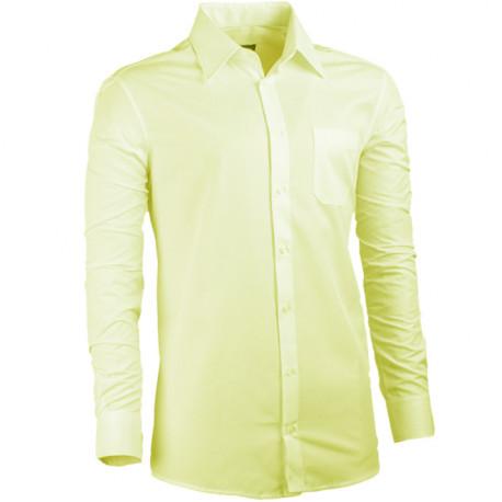 Predĺžená pánska košeľa žltá regular fit Assante 20102
