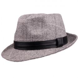 Sivý pánsky klobúk Harris Tweed károvaný Assante 85094
