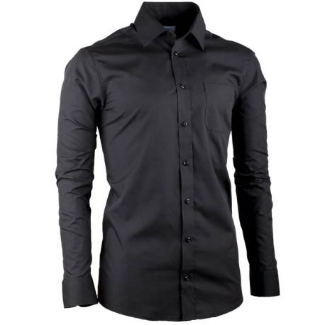 Čierna pánska košeľa s dlhým rukávom slim fit Aramgad 30180