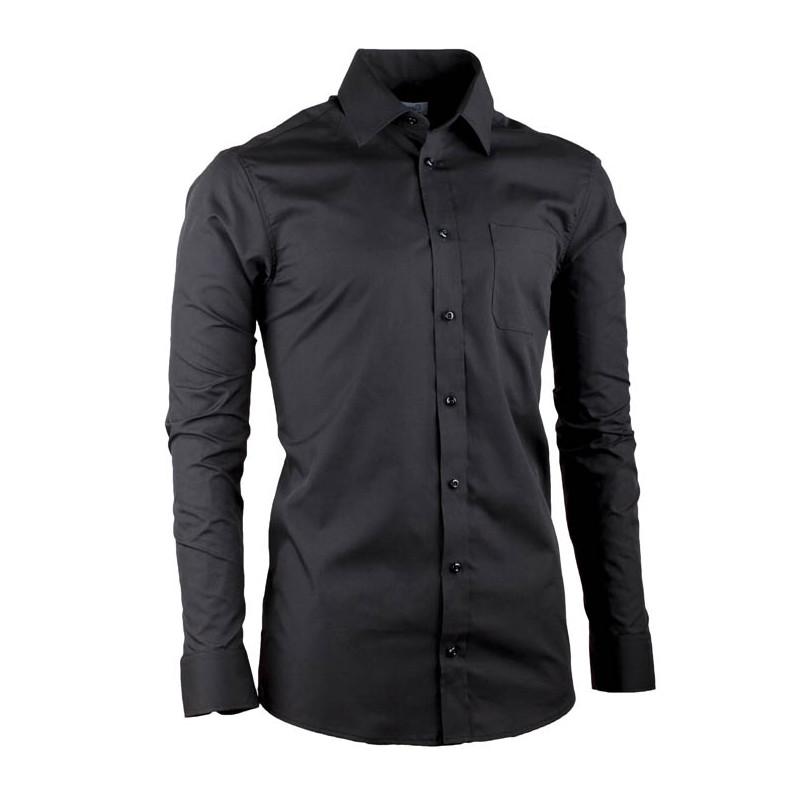 e3cdf28f37cd Čierna pánska košeľa s dlhým rukávom slim fit Aramgad 30180