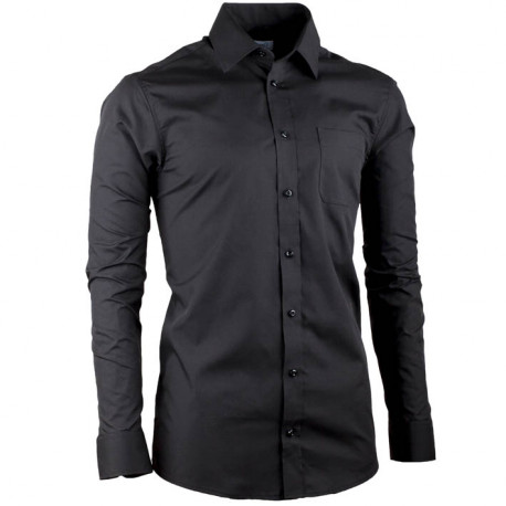 Čierna pánska košeľa regular fit s dlhým rukávom Aramgad 30181