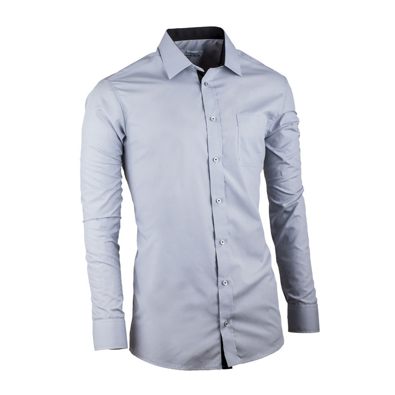 3d954b09f9b3 Sivá pánska košeľa s dlhým rukávom slim fit Aramgad 30182
