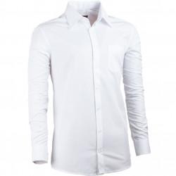 Biela pánska košeľa s dlhým rukávom slim fit Assante 30019