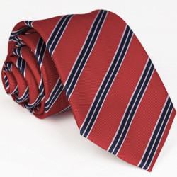 Červená kravata s modrým pruhom Greg 93013