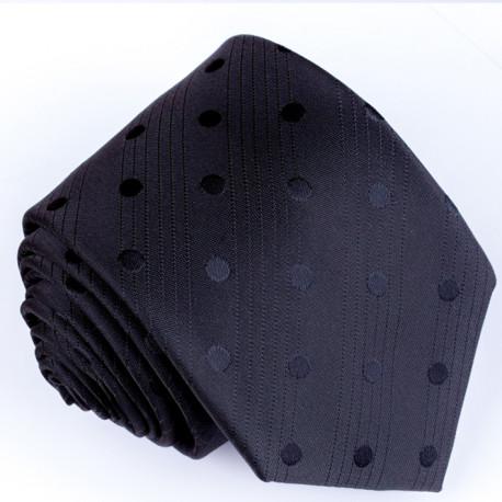 Čierna kravata s bodkami Greg 91008