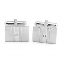 Manžetové gombíky z bieleho kovu Assante 90563