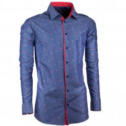 Predĺžená pánska košeľa slim modročervená Assante 20795