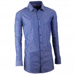Predĺžená pánska košeľa slim modromodrá Assante 20797