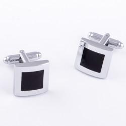 Manžetové gombíky čierno strieborne Assante 90546
