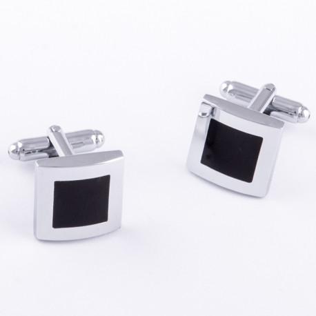 Manžetové gombíky čierno striebornej farby Assante 90546