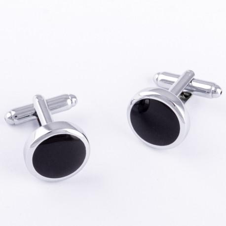Manžetové gombíky okrúhle čierno striebornej farby Assante 90550