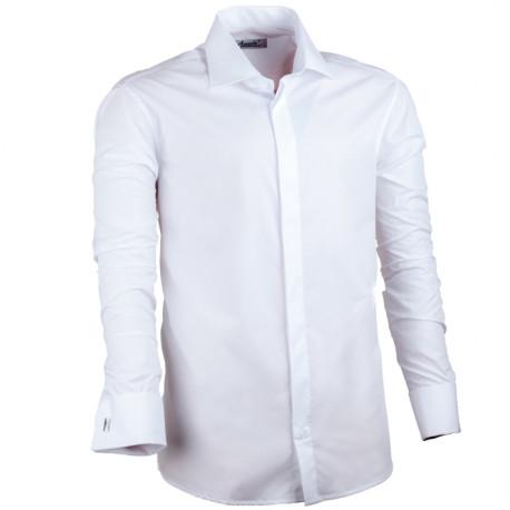 Predĺžená košeľa na manžetový gombík biela regular Assante 20008