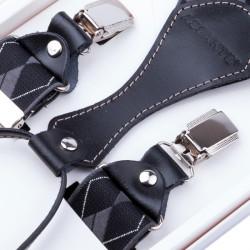 Luxusné čierne traky s hodvábnym leskom kožená pútka Assante 90052