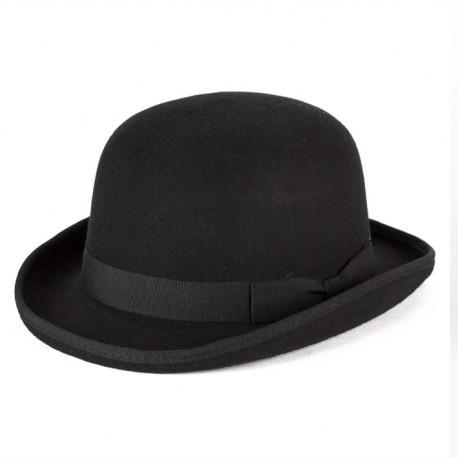 Čierna burinka pánsky klobúk 100% vlna Mes 85015
