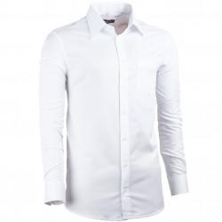 Predĺžená pánska košeľa regular fit biela Assante 20015