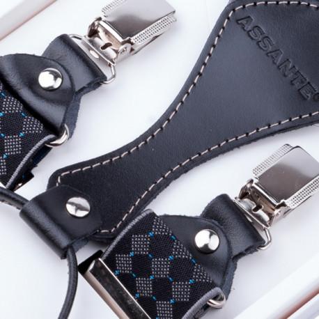 Luxusné čierne traky s hodvábnym leskom kožená pútka Assante 90056