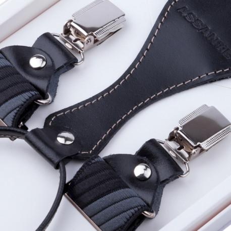 Luxusné sivočierne traky s hodvábnym leskom kožená pútka Assante 90057
