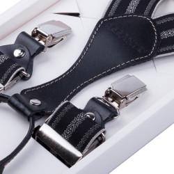 Luxusné čiernosivé traky s hodvábnym leskom kožená pútka Assante 90060
