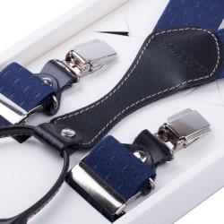 Luxusné modré traky s hodvábnym leskom kožená pútka Assante 90063