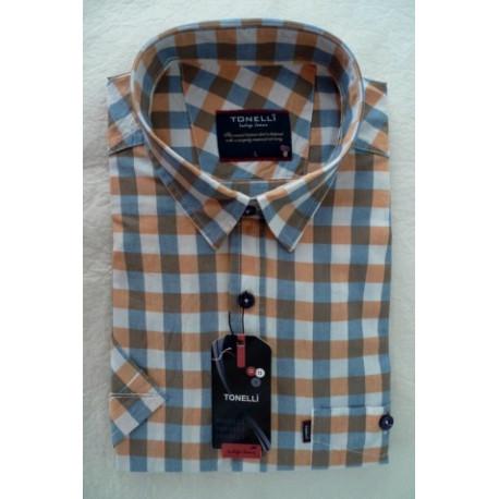 Modrobílooranžová košeľa 100% bavlna krátky rukáv Tonelli110804