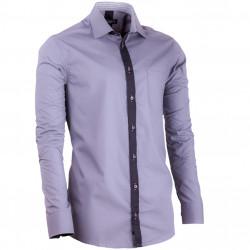 Predĺžená pánska košeľa šedá slim fit Assante 20718