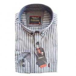 Modrá pánska košeľa dlhý rukáv rovný strih Tonelli 110911