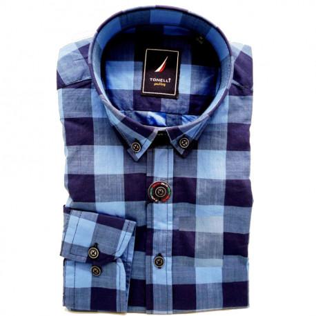 Modrá pánska košeľa dlhý rukáv rovný strih Tonelli 110912