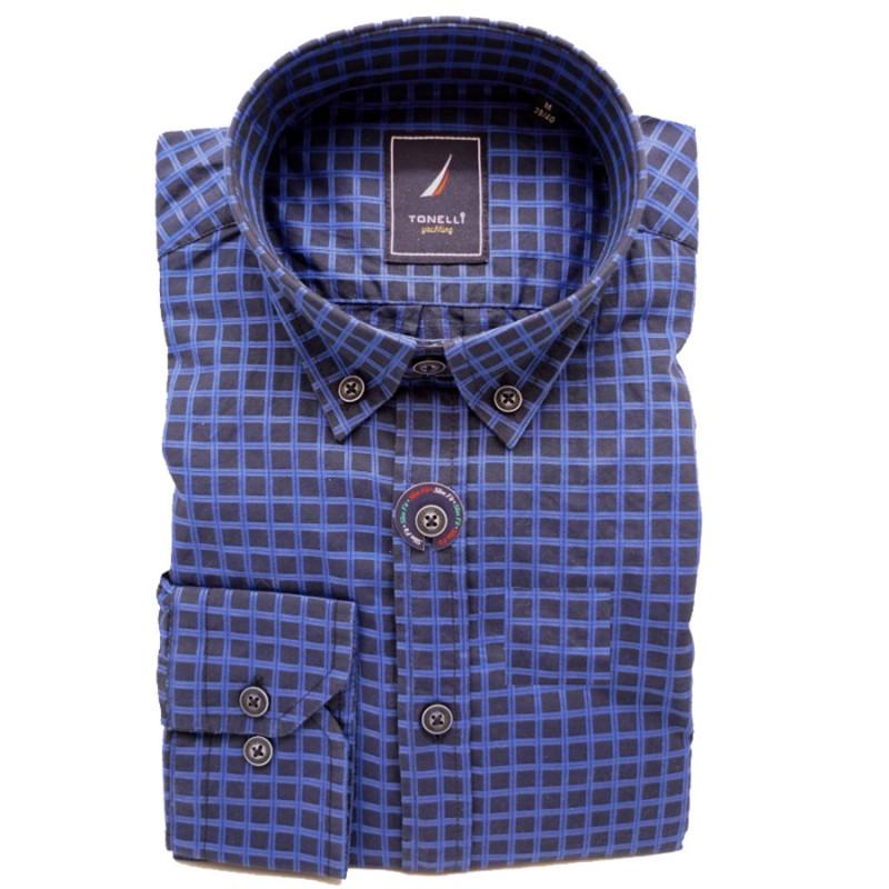 ddc713735c88 Modrá pánska košeľa dlhý rukáv rovný strih Tonelli 110913