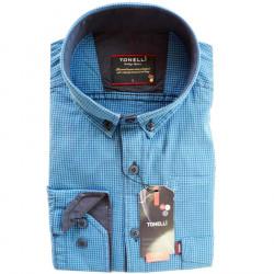 Modrá pánska košeľa dlhý rukáv rovný strih Tonelli 110914