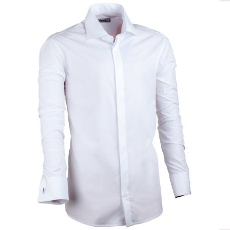 Predĺžená košeľa na manžetový gombík slim biela Assante 20016