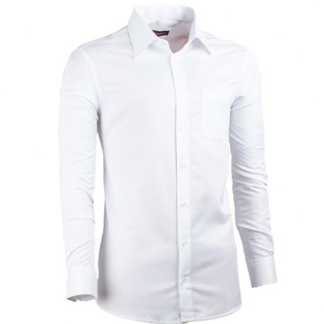 Predĺžená pánska košeľa slim fit biela Assante 20017