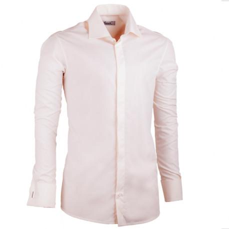 Predĺžená košeľa na manžetový gombík slim fit šampaň Assante 20201