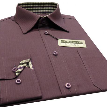 Predĺžená pánska košeľa fialová Assante 20301