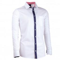Biela pánska košeľa s dlhým rukávom slim fit Assante 30687