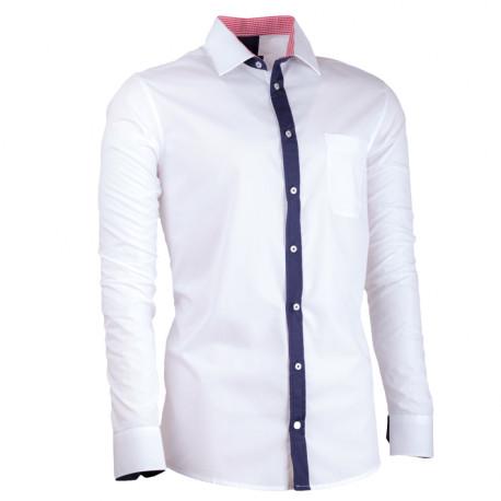 80544f97b089 Biela pánska košeľa s dlhým rukávom slim fit Assante 30687