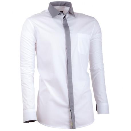 b8cdb60ff847 Biela pánska košeľa s dlhým rukávom slim fit Assante 30691