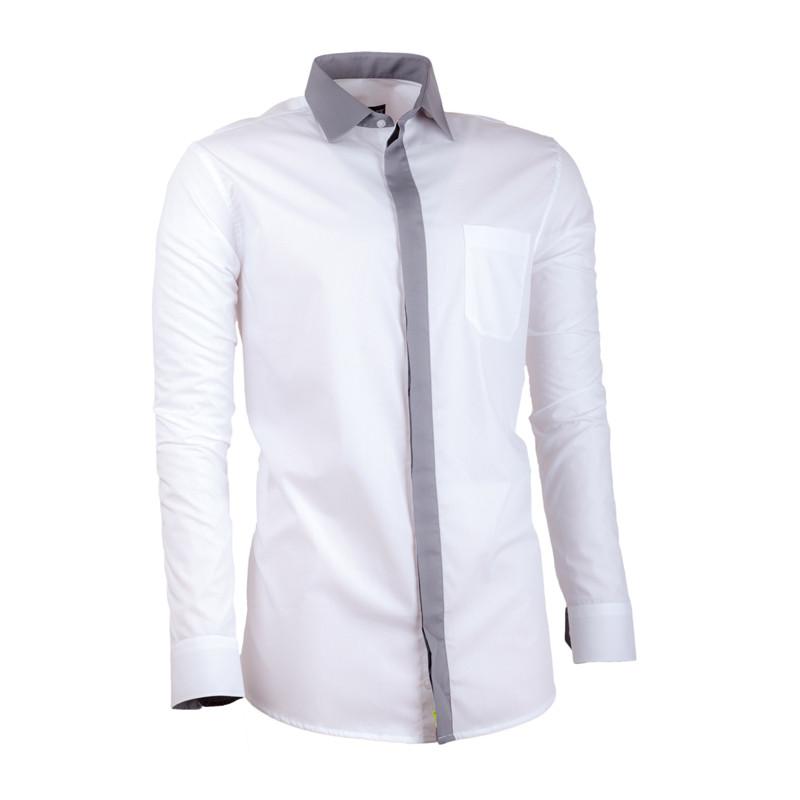 e03d684dcd3c Biela pánska košeľa s dlhým rukávom slim fit Assante 30691