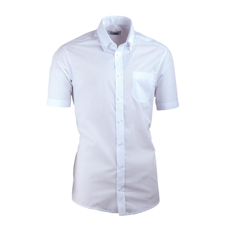 0e7c71ec5551 Biela pánska košeľa s krátkym rukávom slim fit Aramgad 40032