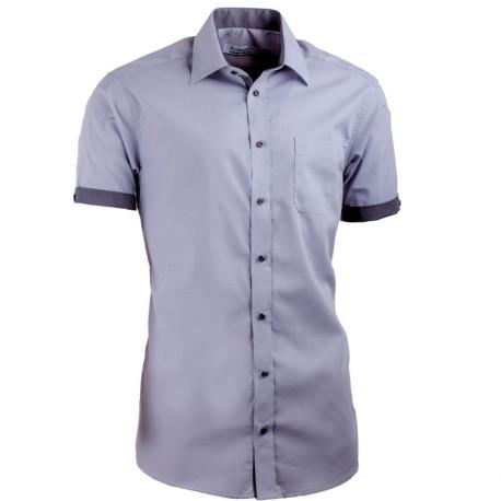 6e9d61d6f349 Sivá pánska košeľa s krátkym rukávom slim fit Aramgad 40139