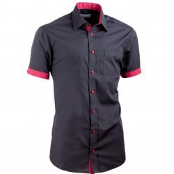 Čierna košeľa slim fit kombinovaná Aramgad 40141