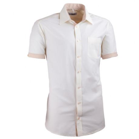 Šampaň košeľa slim fit kombinovaná Aramgad 40237