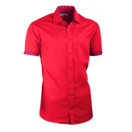 Červená košeľa slim fit kombinovaná Aramgad 40336