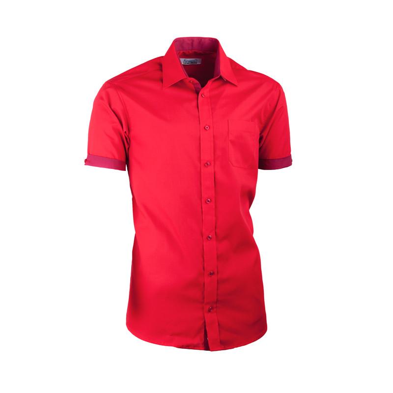0a0c7e09daea Červená košeľa slim fit kombinovaná Aramgad 40336