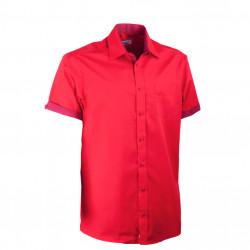 Červená pánska košeľa rovná s krátkym rukávom Aramgad 40337