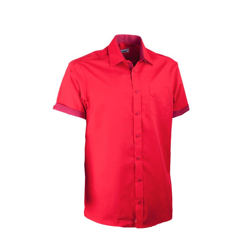65b247b9e86a Červená pánska košeľa rovná s krátkym rukávom Aramgad 40337