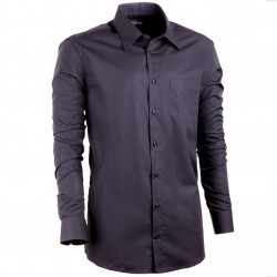 Predĺžená košeľa s dlhým rukávom slim čierna Assante 20106