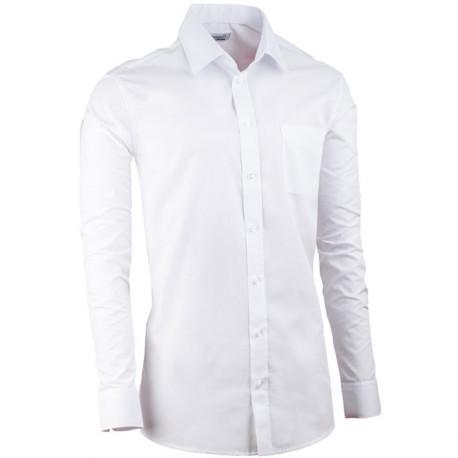 Biela pánska košeľa s dlhým rukávom slim fit Aramgad 30080