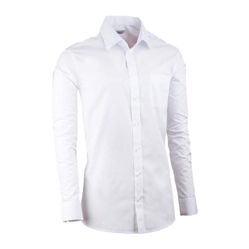 bb3edee725 Biela pánska košeľa s dlhým rukávom slim fit Aramgad 30080